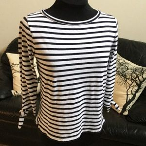 J. Crew Striped Top with Sleeve Ties